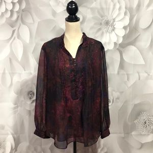 Coldwater Creek Maroon Lined Blouse XL 16